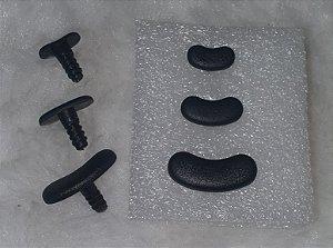 Olho de Snoopy  - Cor preto texturizado fosco -  3 tamanhos:  01 (15mmx 8mm), 02 (19mm x 9mm) e 03 (26mm x12mm) - Embalagem com 3 pares e travas do tamanho escolhido