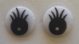 Olho Redondo Branco c/ Pupilas e Cílios - 12 mm - Pacote com 5 pares e travas