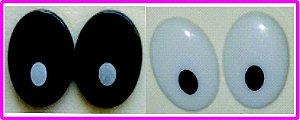 Olho Oval Branco com pupila Preta ou Preto com Pupila Branca - 22 mm - Pacote com 5 pares e Travas