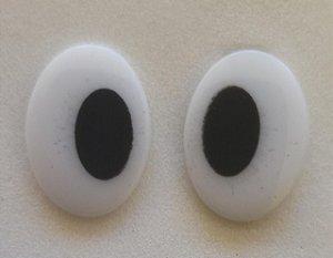 Olho Oval Branco com pupila preta - 15 mm - Pacote com 5 pares e Travas