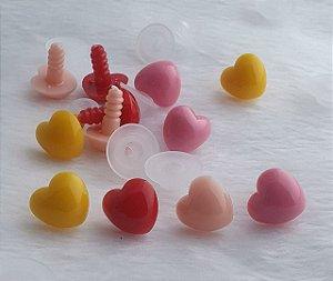 Coração - 15 mm X 13 mm - cores: amarelo, rosa, vermelho e rosa claro - Pacote com 3 unidades e Travas