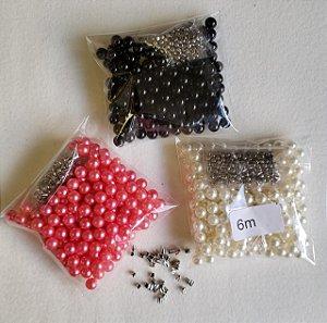 Pérola sem Furo Lisa - 4, 5, 6, 8, 10mm - Pacote com 28 gramas (acompanha rebites)