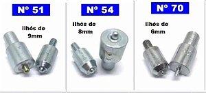 Matriz para Fixação de Ilhós (necessário Balancim não incluso) Tamanhos: (54 - 8 mm), (51 - 9 mm) e (70 - 6mm)