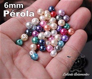 Pérola Miçanga - Tamanho 06 mm - Cores: Preto, Creme (BEGE), Branco, Dourado, Creme Neon e Azul Neon- (Pacote com 20 gramas)
