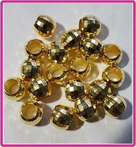 Entremeio - Bola Globinho Dourada - Tamanho 13 mm - Furo Largo - (Pacote com 12 unidades)