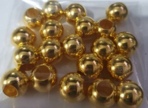 Entremeio - Bola  Dourada - Tamanho 12 mm - Furo Largo - (Pacote com 20 unidades)
