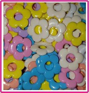 Entremeio, Passante  - Flor Colorida (tons pasteis) Vazada - Tamanho 20 mm - (Pacote com 30 unidades) cores aleatórias