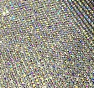 Manta de Strass - Tamanho 100mm X 200mm - Cores: Prateada com strass Neon