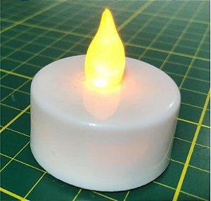 Mini Vela Decorativa (Eletrônica com Bateria) Base = 3,7cm diamêtro X 1,8cm altura (Altura total=3,6 cm)