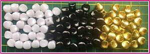Entremeio Passante Achatado - tamanho 10mm - Branco, Preto ou Dourado (Pacote com 50 unidades)