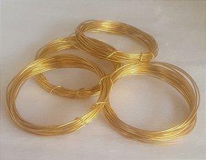 Arame Flexível de Alumínio Dourado - espessura 1,5 mm - (Rolo com 5 metros)