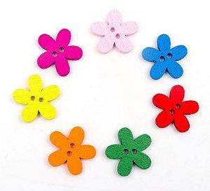 Botão de Madeira Flor -Tamanho: 15mm *Pacote com 20 botões de cores sortidas*