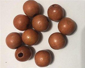Bola de Madeira (Passante) - 16 mm (pacote com 10 bolas) Cor: Caramelo