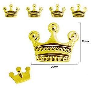 Botão Coroa 3 Pontas - com pé - Dourado -  Tamanho 13mmX20mm - embalagem com 3 unidades
