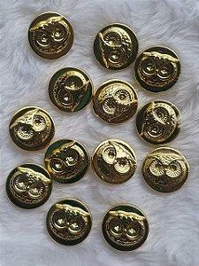 Botão Medalha Coruja - Dourado - Tamanho 20mm- Unidade