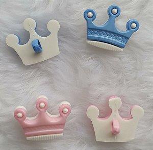 Botão Coroa 3 Pontas - Azul ou Rosa -  Plástico - Tamanho 21mmX17mm - Unidade