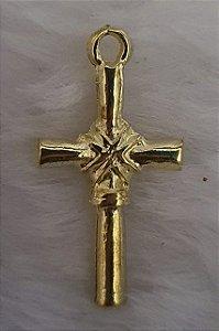 Pingente Cruz Dourada - (25x213m) - embalagem com 3 unidades