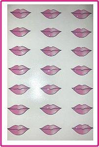 Boca Resinada Rosa Autocolante - *Cartela com 21 boquinhas resinadas* Tamanho: 20X10 mm