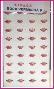 Boca Resinada Autocolante - *Cartela com 36 boquinhas na cor vermelha * Tamanho: 11X5 mm