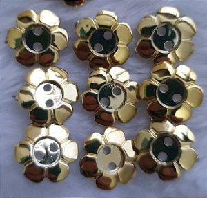Botão acrilico FLOR dourada ou prateada G - 19mm - pacote com 10 unidades