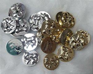 Botão Medalha Laço - Dourado ou Prateado - Tamanho: 20 mm - embalagem com 6 unidades da mesma cor