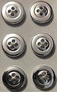 Botão 4 Furos Prateado - Tamanho: 15 mm - pacote com 10 unidades