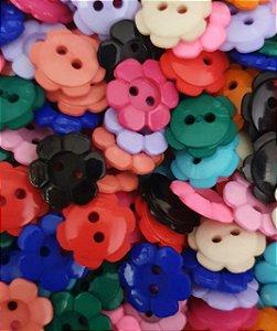 BOTÃO PLÁSTICO - FLOR - 15mm - multicor - pacote com 20 botões com cores aleatórias