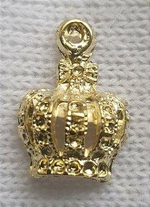Pingente Coroa de metal - Dourada - 12mm x 18mm - Unidade