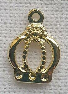 Pingente Coroa de metal - Dourada - 12mm x 17mm - Unidade