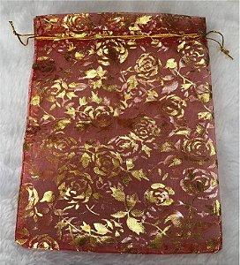 Saco de Organza Vermelho com estampa Dourada - Tamanho: 15 X 19 cm