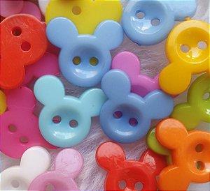 BOTÃO DIVERTIDO de plástico - MICKEY - 15X13mm - cores aleatórias - pacote com 20 unidades