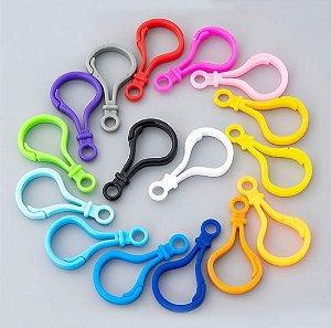Mosquetão Plástico - 50mm x 25mm - Cores: Branco, Rosa, Azul, Amarelo, Verde, Rosa, Cinza e Roxo - *venda por unidade*