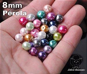 Pérola Miçanga - Tamanho 08 mm - Cores: branca, dourada, creme neon, azul neon, vermelha  -  pacote com 30 gramas -