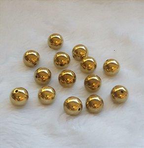 Pérola ABS Dourada - 20 mm - Pacote com 6 Unidades