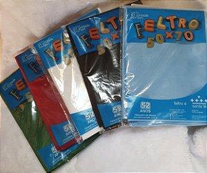 Feltro Liso Santa Fé - 50x70cm - Preto, Branco, Vermelho, Verde3 Bandeira e Azul Claro