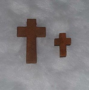 Pingente Cruz de Madeira - Cor imbuia -  Furo lateral - 41mm (G) e 21 mm (P)