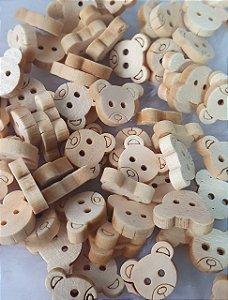 Botão Urso, Ursinho Madeira - Tamanho: 13 X 10 mm - *Pacote com 10 unidades*