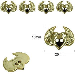 Botão Coração Alado Dourado - 2 furos - 15mm x 20 mm - pcte com 6 unidades