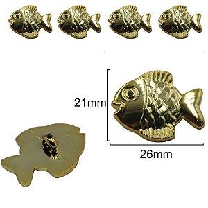 Botão Infantil Peixinho Dourado  -  21mm x 26 mm - pcte com 5 unidades