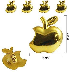 Botão Infantil Maçã Dourado  -  20mm x 15mm - pcte com 5 unidades