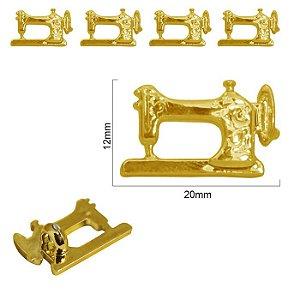 Botão Máquina de Costura antiga dourada  - 12mm x 20mm -  pcte com 3 unidades