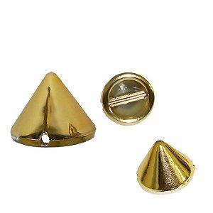 Botão Spike com furo lateral-  10mm - cor dourado- pcte com 10 unidades