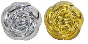 Botão Rosa metalizado com pé (Ref.: 9443)- 13mm x 13mm - Cores: Prata e Dourado -  Embalagem com 5 unidades  da mesma cor