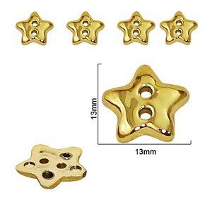 Botão Estrelinha metalizada- 13mm x 13mm - Cores: Prata e Dourado -  Embalagem com 5 unidades  da mesma cor