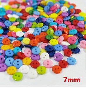 Botão Colorido 7 mm *Pacote com 30 botões cores aleatórias*