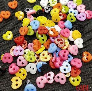 Micro Botão Coração Colorido - 6 mm *Pacote com 50 botões cores aleatórias*
