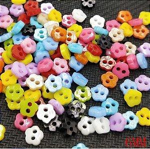 Micro Botão Flor Colorido -  Tamanho 6 mm - (Pacote com 50 unidades de cores aleatórias)