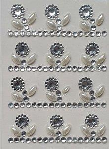 Sticker's - Autocolantes - Fantasia - Mod. ST-24 Prata -  20mm - cartela com 13 linhas x 3 colunas
