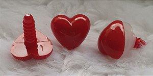 Coração 25 Vermelho - 17 mm X 15 mm -  Pacote com 3 unidades e Travas