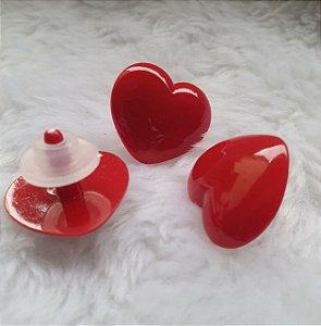 Coração 4 Vermelho - 27 mm X 24 mm -  Pacote com 3 unidades e Travas